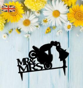 Mr and Mrs Motorbike Bride Groom Wedding Cake Topper Keepsake Acrylic. 570
