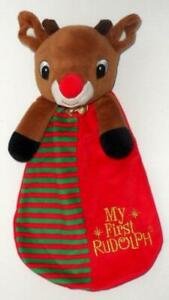 "RUDOLPH RED NOSED REINDEER MY FIRST RATTLE 13"" CHRISTMAS PLUSH SECURITY LOVEY"