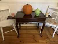 Ethan Allen Georgian Court Cherry Tea Server Table with 2 Pullouts End Table