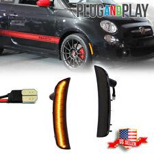 2x Smoked Lens Front Bumper Amber Led Side Marker Lights For 2012 2019 Fiat 500
