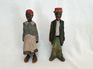 "Vtg Hand-Carved & Painted Pair Black Americana Folk Art Figures, 6"", RARE, TN"