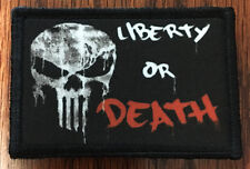 PUNISHER Liberty or Death Morale Patch Tactical Military Army Badge Hook Flag