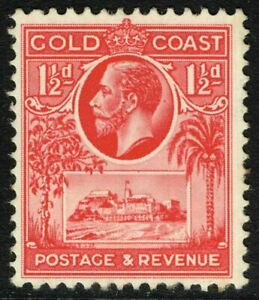 SG 105 GOLD COAST 1928 - THREEHALFPENCE SCARLET - MOUNTED MINT
