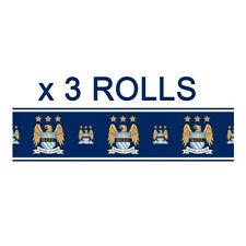 Official Manchester City Football Wallpaper Border Etihad MCFC Blues 5m x 3
