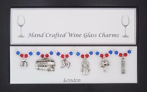 London Set of 6 Wine Glass Charms Handmade Just for You
