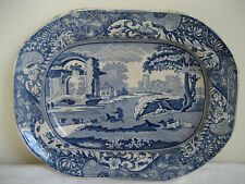 "ANTIQUE WALKER & CARTER BLUE TRANSFERWARE SERVING DISH 9 7/8"" BY 7 1/2"" C 1800'S"