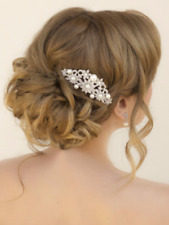 Vintage Pearl Clear Rhinestones Bridal Hairpiece Hair jewelry Wedding Comb