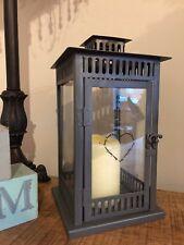 LANTERNA in metallo grigio industriale TEA LIGHT portacandele vintage vetro uragano