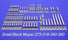 Mopar Small Block Sb 273 318 340 360 Stainless Steel Engine Hex Bolt Kit