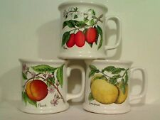 Lot of 3 Large Ceramic Fruit Coffee Tea Mugs Cups White W/Peach Plum Grapefruit