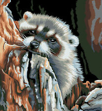 """New DIY Paint By Number 16*20"""" kit Oil Painting On Canvas Lovely Raccoon 1092"""