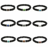 Charm Natural Lava Stone Distance Healing Beaded Bracelets Men Women Bracelets