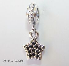 Pandora Genuine Sterling Silver Black Pave' Star Dangle Charm #791024NCK