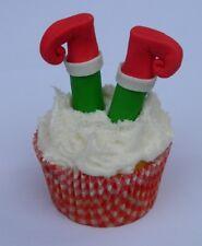 12 edible CHRISTMAS 3D ELF LEGS novelty cupcake cake topper decoration CUTE