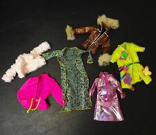 Mattel Barbie 6 Clothes Coats Bath robe Rain coat faux leather fur