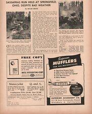 1951 Sassafras Run, Springfield, Ohio - 1-Page Vintage Motorcycle Article
