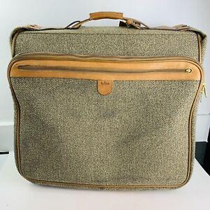 "Vintage HARTMANN Tweed w/ Leather Rolling Garment Bag Travel Luggage 23""x23"""