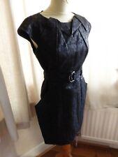 Karen Millen metallic black origami event dress 12 belted VGC smart