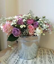 Zinc Metal Silver Tin Bucket 15cm Plant Herb Pot Wedding Planter Handle Garden