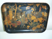 Fine Old Hand Painted Chinese Papier Mache Lacquer Tray