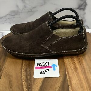 Cole Haan Brown Men's Insulated Thermal Suede Driving Slippers Loafers 10.5