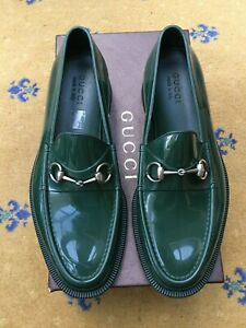 Gucci Mens Shoes Green Rubber Horsebit Loafers UK 10 US 11 EU 44 Jelly