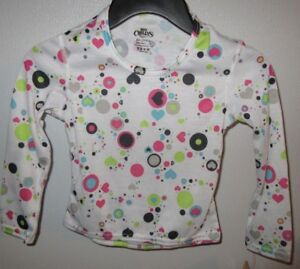 Hot Chillys Pepper Skins Youth Base Layer Crew Top XXSM 3-4 Dots Hearts on White