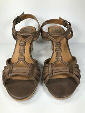 Clarks Strappy Sandals Brown Cork Wedge Heels Women's Size 6 M
