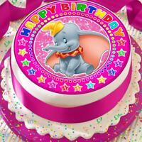 DUMBO PINK HAPPY BIRTHDAY 7.5 INCH PRECUT EDIBLE CAKE TOPPER DECORATION