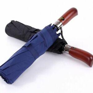 New Big Business Umbrella Men Women Double Layer 8 Ribs Windproof Wooden Handle