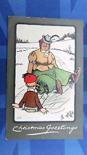 Vintage R Tuck Comic Postcard 1900s HAT PIN Lady Ice Skating CHRISTMAS GREETING