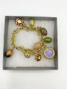 """Joan Rivers Faberge Egg Inspired Limited w 8 Enamel Charms & watch 7.75-8"""" L"""