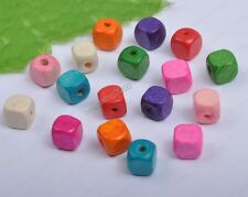 600pcs Mixed Color Cube Small Wooden Bead Spacer Beads Loose Beads 5x5mm DF124