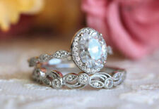 Ring Set 14K White Gold Over Sn Oval Cut 2.45Ct Diamond Halo Bridal Engagement