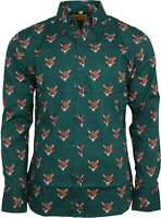 Run & Fly Mens Retro Fox Head Printed Long Sleeve Shirt 60s 70s Vintage
