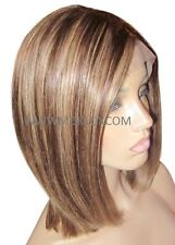 "Remy Human Hair Wig Full Lace 12"" Short Mid Brown Blonde 4 27 Highlights Moklox"