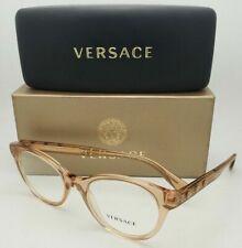 New VERSACE Eyeglasses MOD.3150 5215 Brown Transparent Frames w/ Medusa Crystals