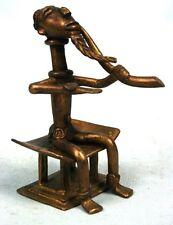 Art Africain - Figurine de Dignitaire Baoulé en Bronze - Cire Perdue - 10,2 Cms