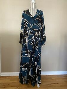 City Chic Woman's Green chainlink long flare sleeve wrap maxi Dress Size XS/14