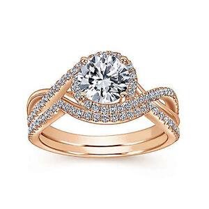 Real 1.10 Ct Beautiful Diamond Engagement Ring Set 18K Rose Gold Size L M N O P