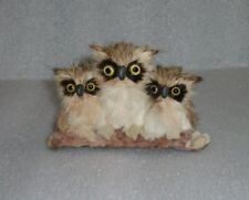 CUTE VINTAGE REAL FUR TOY FIGURINE OF 3 OWLS