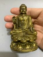 Collect Buddhism decor brass carved Shakyamuni Buddha lotus Statue figurines