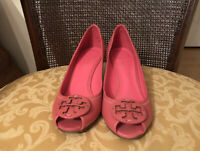 Tory Burch Miller Pink Leather Wedges Size 7.5
