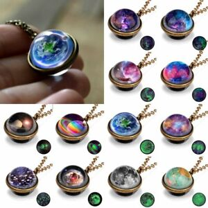 Glow In The Dark Nebula Galaxy Double Side Glass Pendant Necklace Planet Gifts