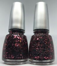 China Glaze Nail Polish Scattered & Tattered 1182 Muted Red Multi Glitter Lacque