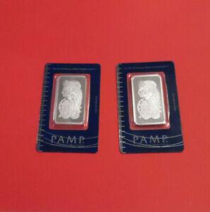 2 Lot 1 Oz Pamp Suisse Lady Fortuna .999 Fine Silver Bullion Bars Consecutive