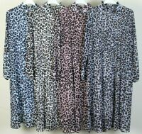 New Ladies Womens Lagenlook Italian Quirky Leopard Print High Neck Pleated Dress