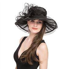 Saferin Women's Kentucky Derby Party Church Wedding Floral Organza Hat Black