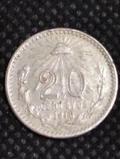 México coin 20 centavos resplandor 1910 silver