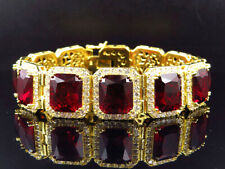 """Mens Yellow Gold Finish Sterling Silver Royal Lab Simulated Red Ruby Bracelet 9"""""""